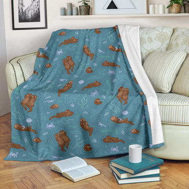 Sea otters pattern Premium Blanket