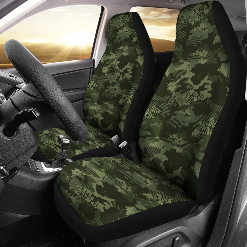 Digital Green Camo Camouflage Pattern  Universal Fit Car Seat Covers