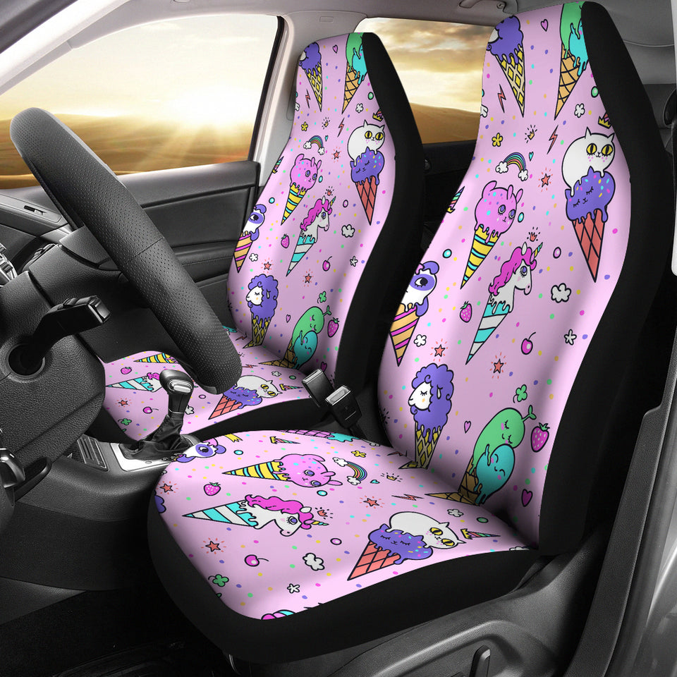 Cute Ice Cream Cone Animal Pattern Universal Fit Car Seat Covers