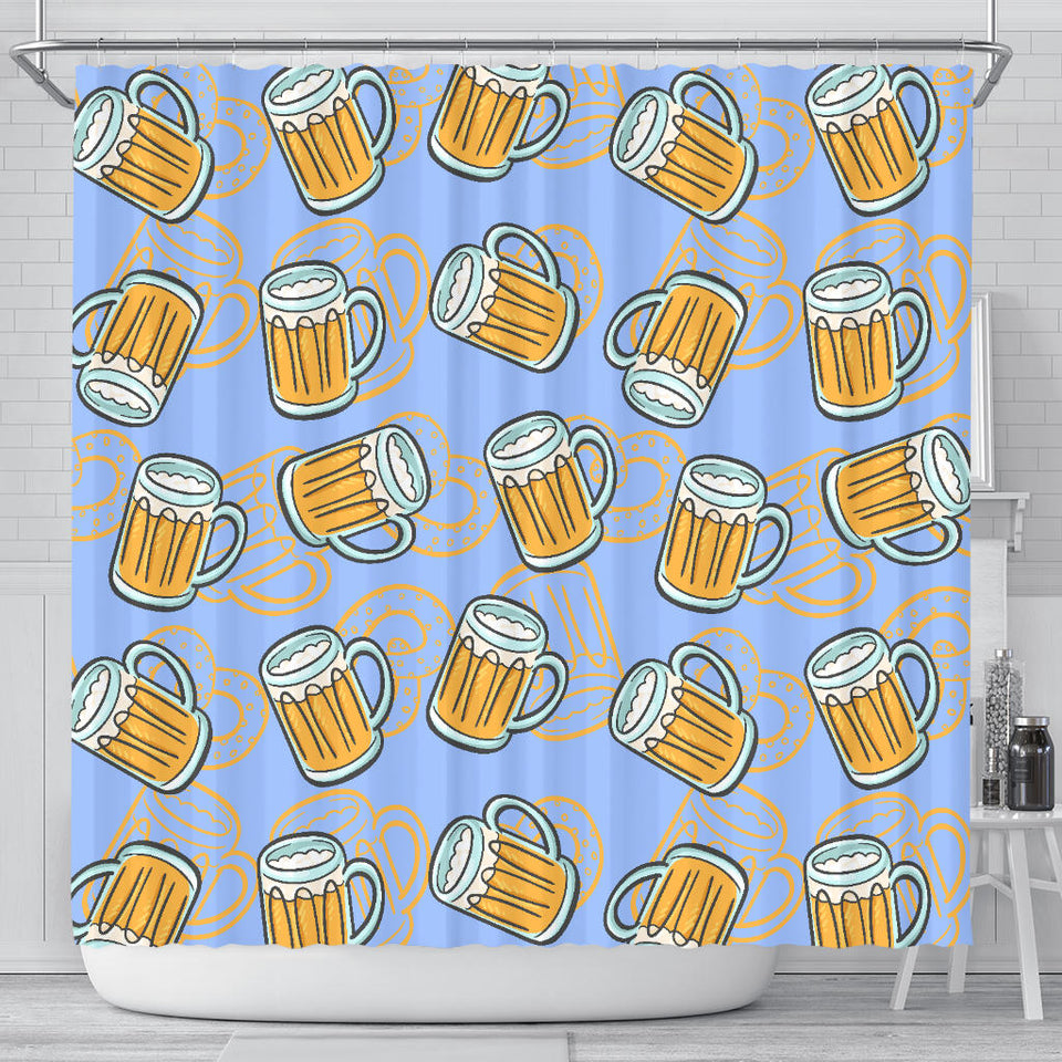Beer Pattern Shower Curtain Fulfilled In US