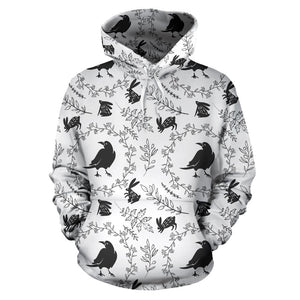 Crows floral wreath rabbit pattern Pullover Hoodie