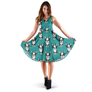 Hand Drawn Boston Terrier Dog Pattern Sleeveless Midi Dress