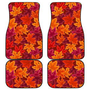 Autumn maple leaf pattern Front and Back Car Mats