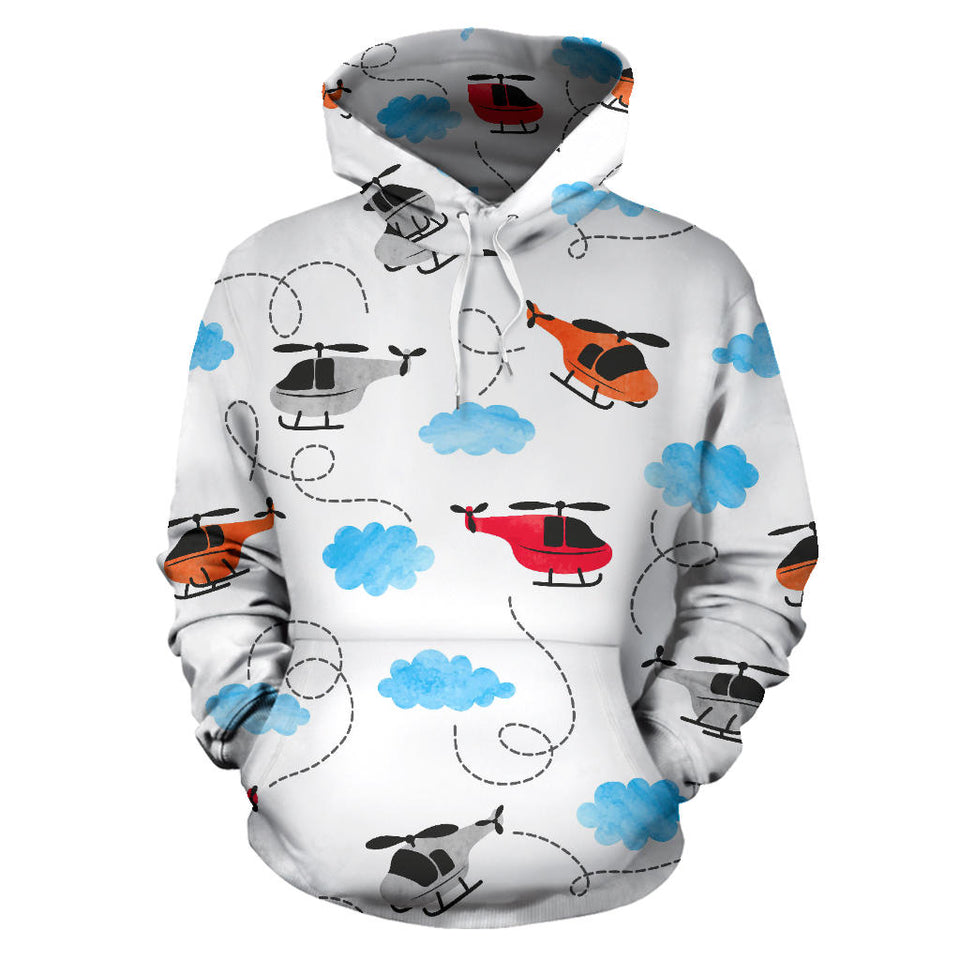 Watercolor Helicopter Cloud Pattern Men Women Pullover Hoodie