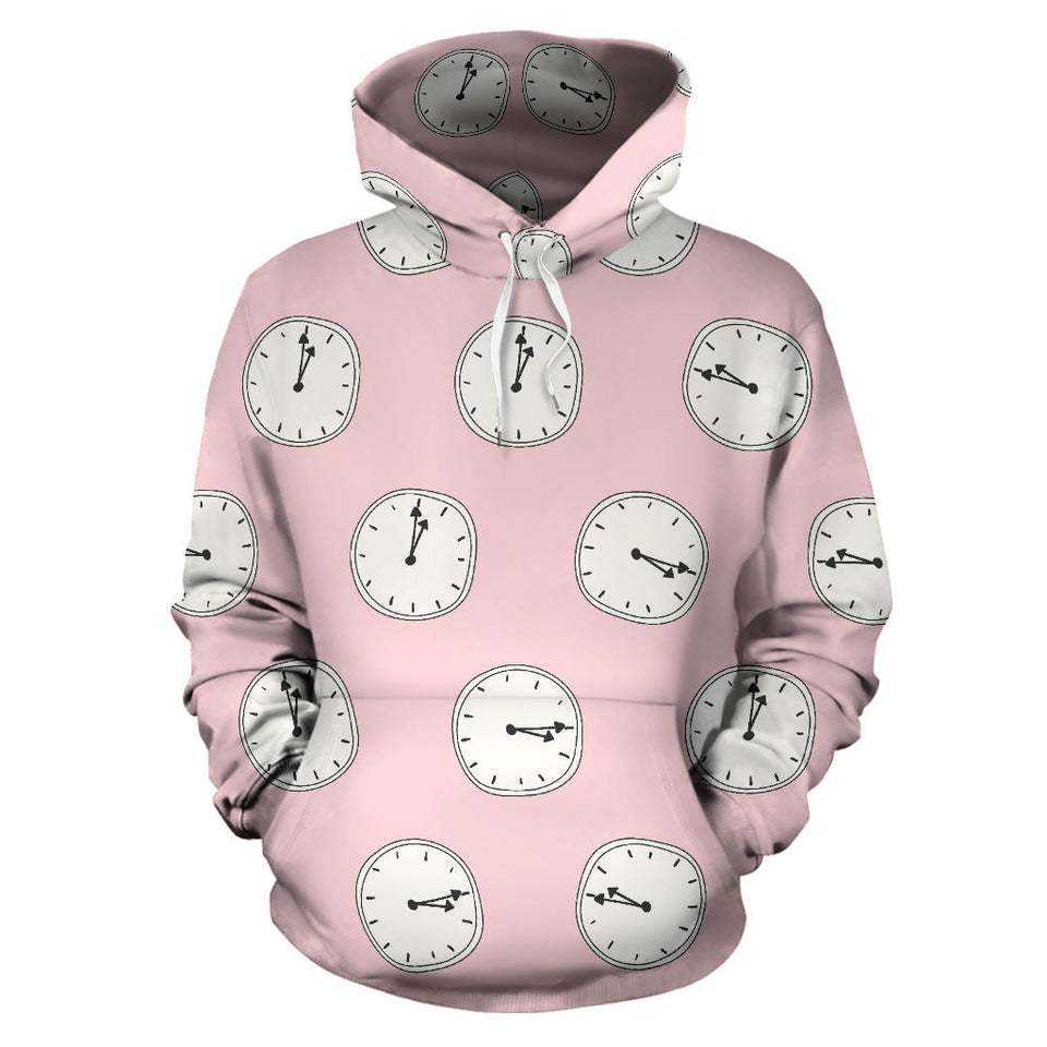 Clock Pattern Pink Blackground Men Women Pullover Hoodie