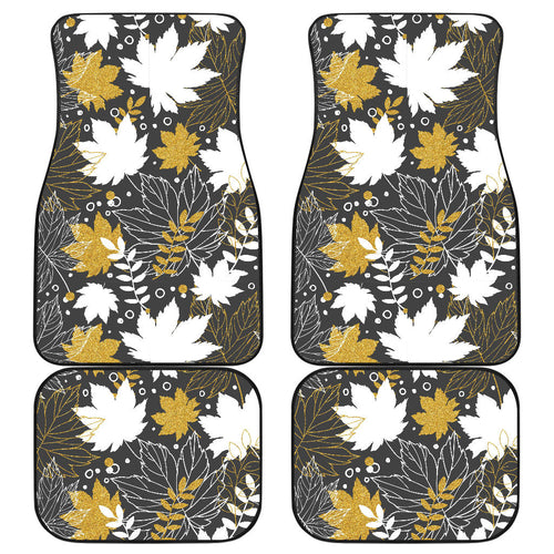 Beautiful gold autumn maple leaf pattern Front and Back Car Mats