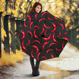 Chili peppers pattern black background Umbrella