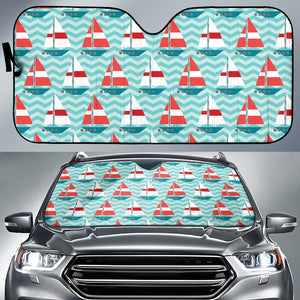 Red White Sailboat Wave Background Car Sun Shade