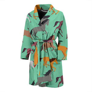 Colorful horses pattern Men's Bathrobe
