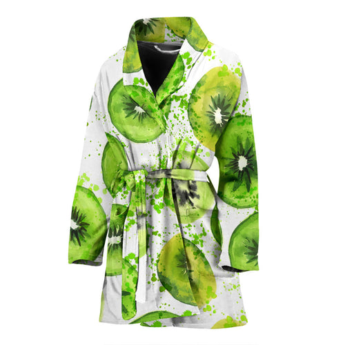 Watercolor kiwi pattern Women's Bathrobe