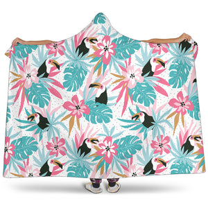 Toucan Tropical Flower Leave Pattern Hooded Blanket