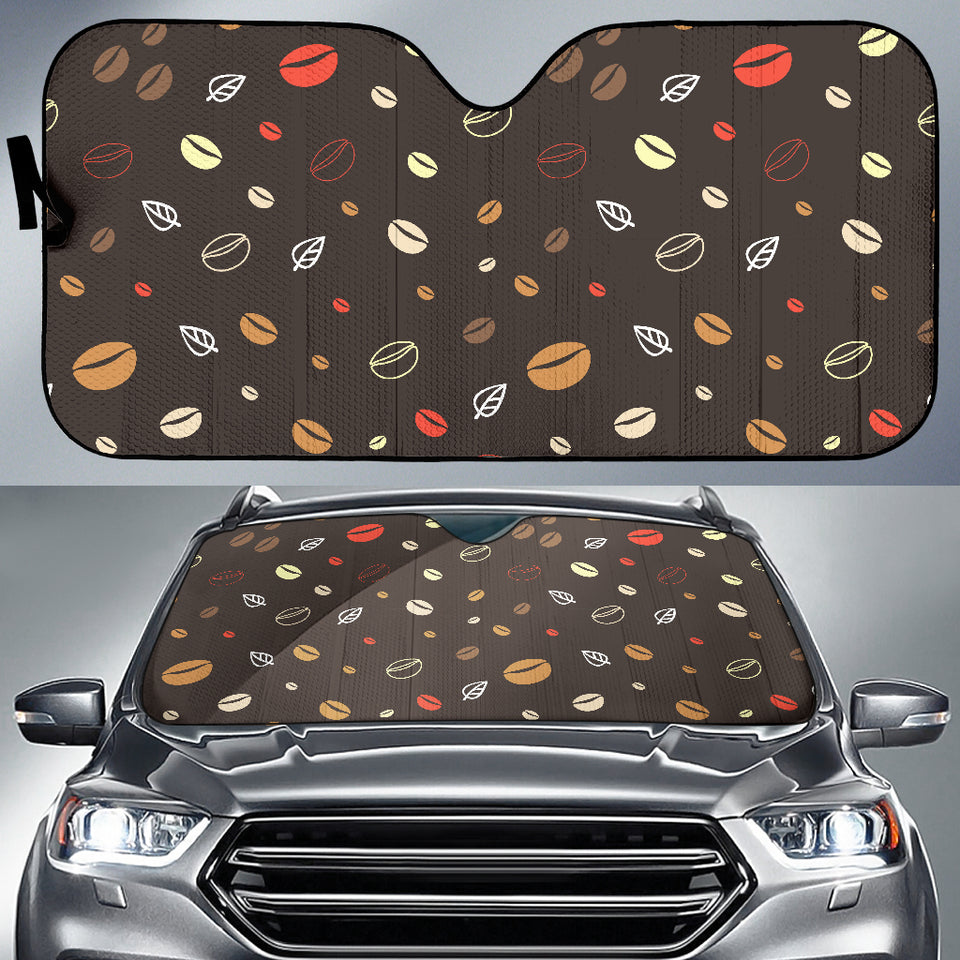 Coffee Bean Leave Pattern Car Sun Shade