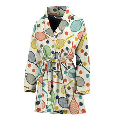 Tennis Pattern Print Design 03 Women's Bathrobe