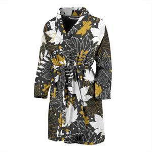 Beautiful gold autumn maple leaf pattern Men's Bathrobe