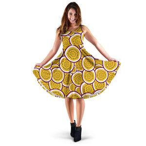 Passion fruits slice pattern Sleeveless Midi Dress
