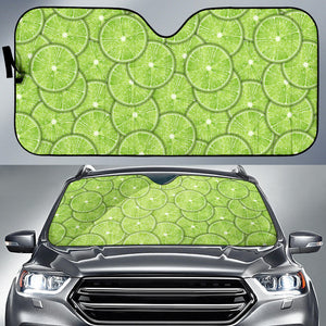 Slices of Lime pattern Car Sun Shade