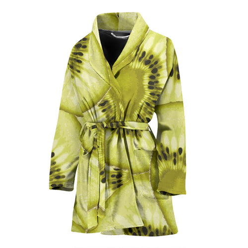 Sliced kiwi pattern Women's Bathrobe