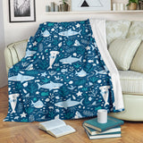 Cute Shark Pattern Premium Blanket
