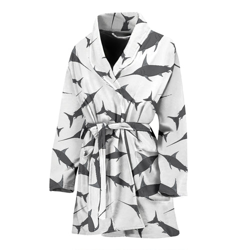 Swordfish Pattern Print Design 04 Women's Bathrobe