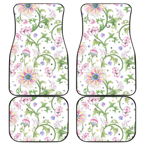 Beautiful pink lotus waterlily leaves pattern Front and Back Car Mats
