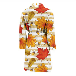Maple Leaf Oak Leaf Acorns Beige Striped Background Men'S Bathrobe