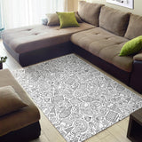 Cartoon hand drawn ice cream black white Area Rug