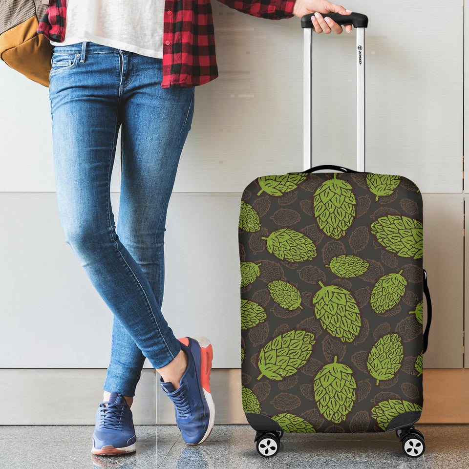 Hop Pattern Black Background Luggage Covers