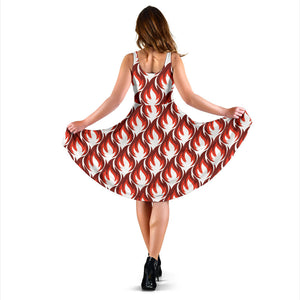 Fire Flame Symbol Design Pattern Sleeveless Midi Dress