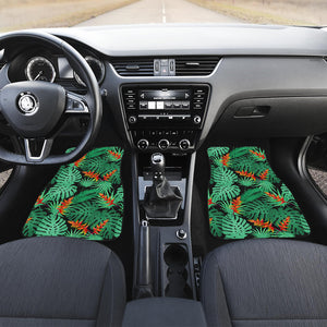 Heliconia Flower Palm Monstera Leaves Black Background Front Car Mats