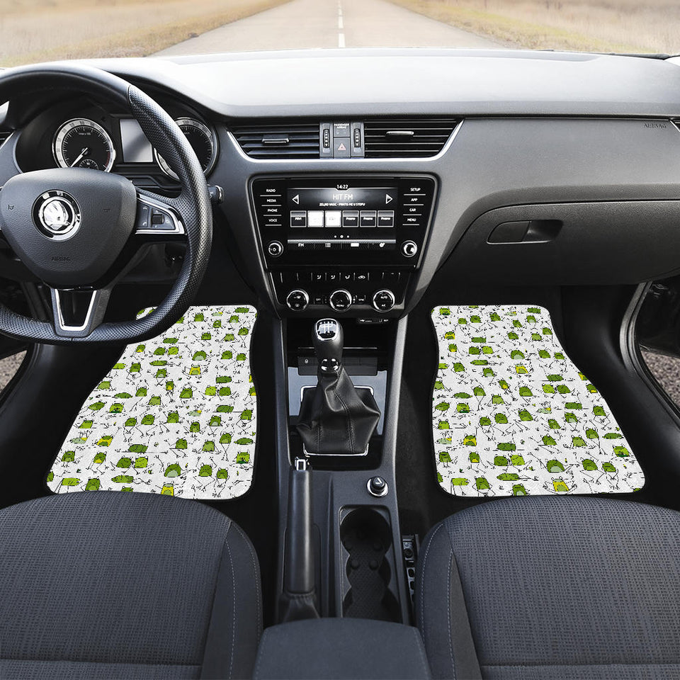 Sketch funny frog pattern Front Car Mats