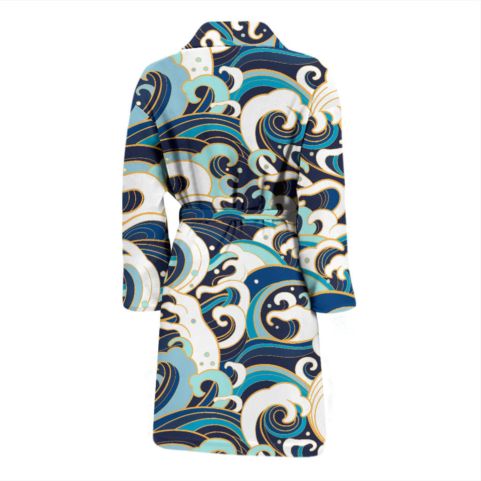 Japanese Wave Pattern Men'S Bathrobe