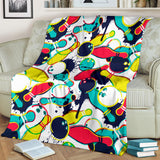 Watercolor Bowling Ball Pins Premium Blanket