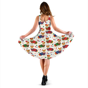 Corgi Christmas Pattern Sleeveless Midi Dress