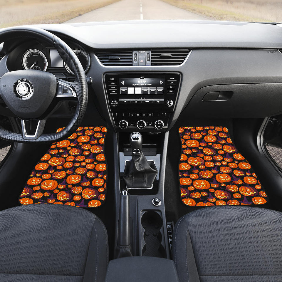 Halloween Pumpkin Pattern Front Car Mats