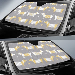 Cute Dachshund Dog Pattern Car Sun Shade