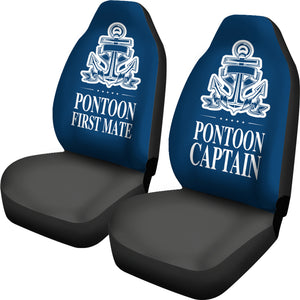 Car Seat Covers - Pontoon Captain And First Mate Blue