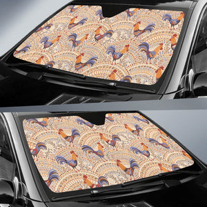 Cute Rooster Chicken Cock Floral Ornament Background Car Sun Shade