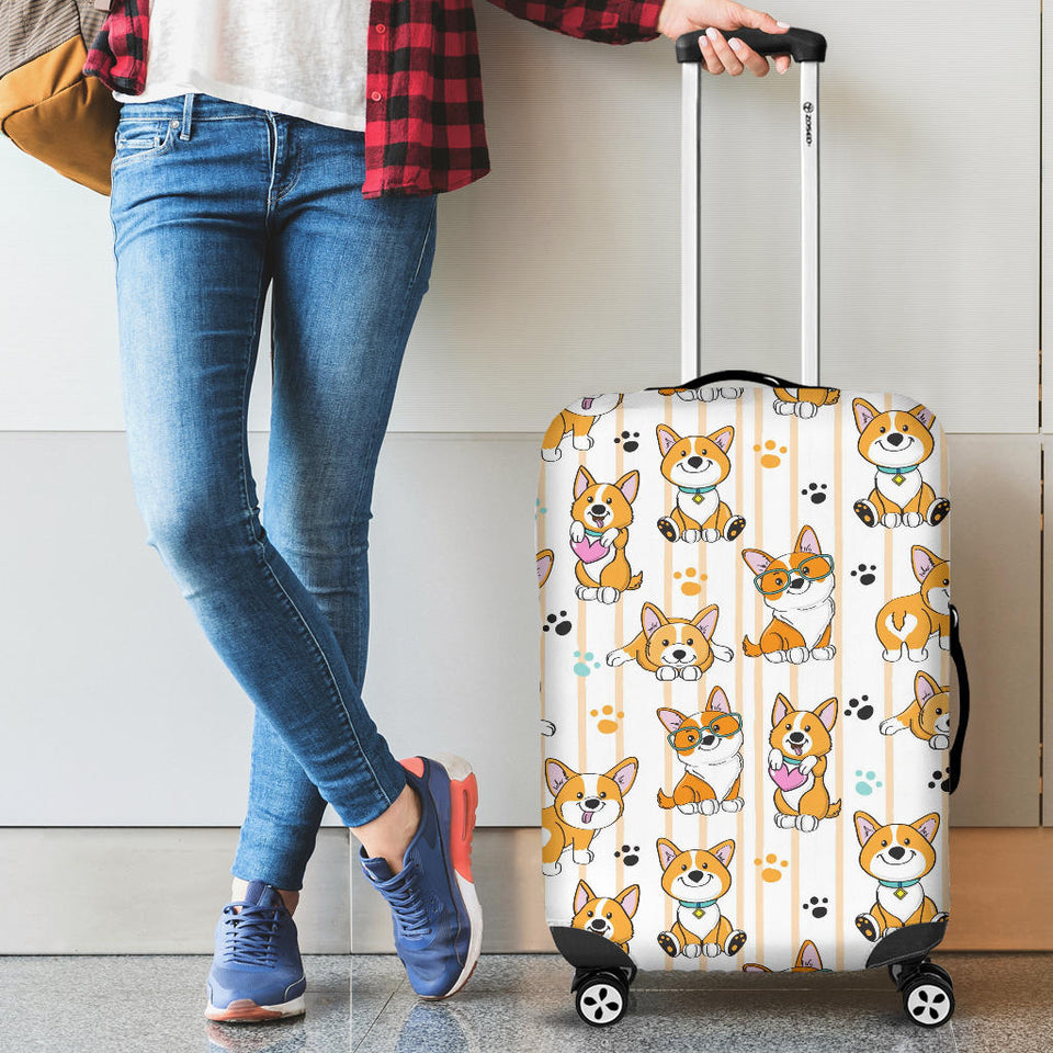 Cute Dog Corgi Striped Background Pattern Luggage Covers
