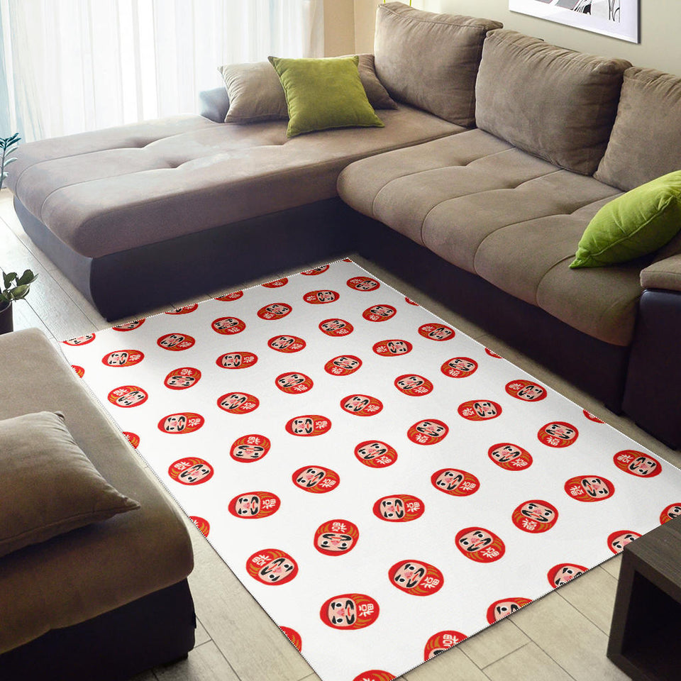 Daruma japanese wooden doll pattern Area Rug