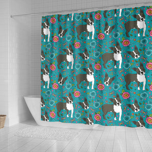 Boston Terrier Beautiful Flower Pattern Shower Curtain Fulfilled In US