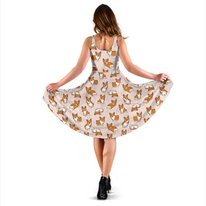 Cute Corgis Pattern pink background Sleeveless Midi Dress