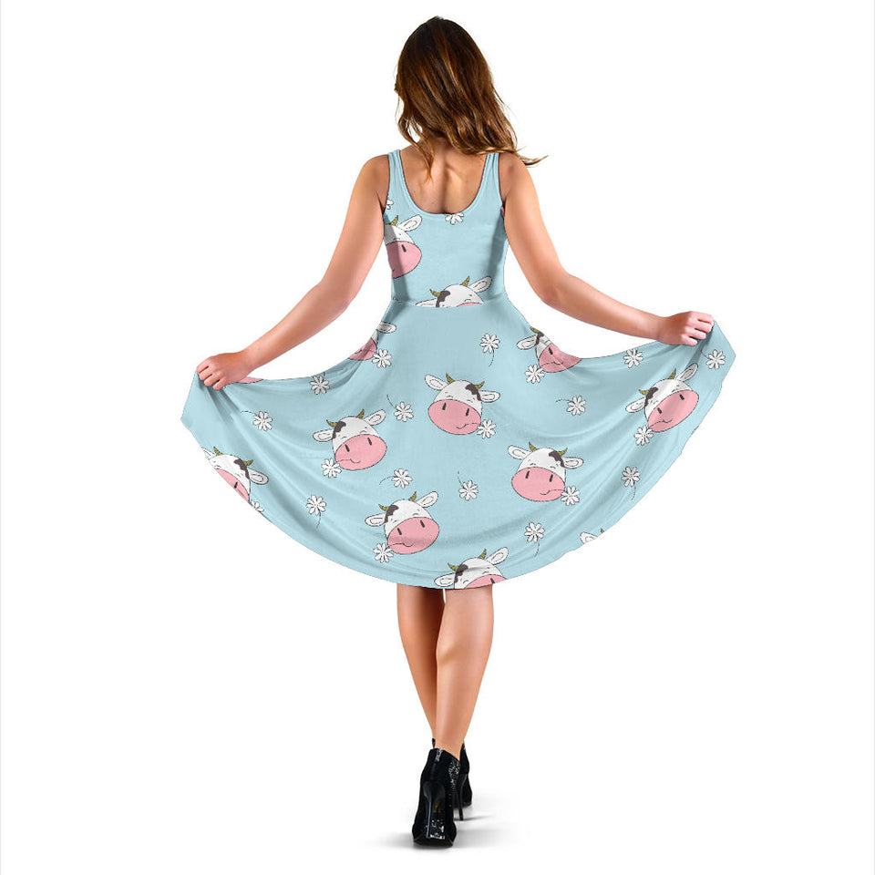 Cute cow flower pattern Sleeveless Midi Dress
