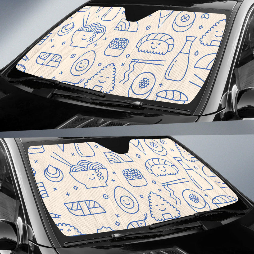 Cute Sushi Icon Pattern Car Sun Shade