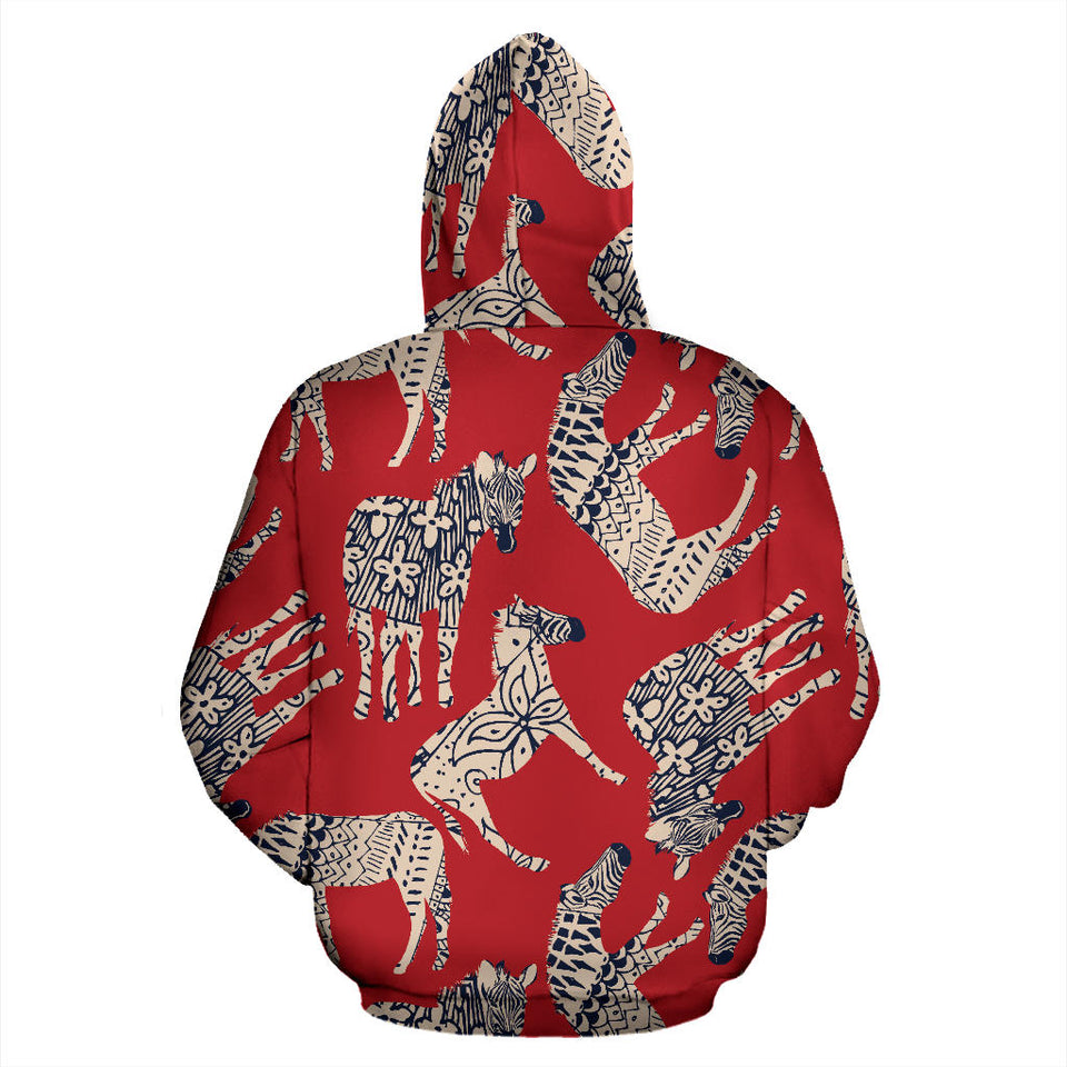 Zebra abstract red background Men Women Pullover Hoodie