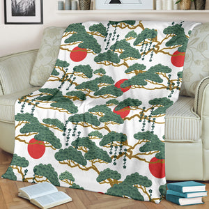 Bonsai red sun japanese pattern Premium Blanket