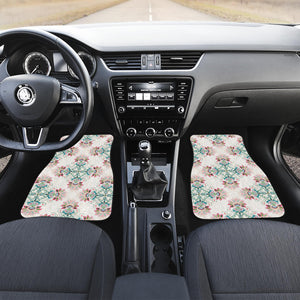 Square Floral Indian Flower Pattern Front Car Mats