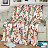 Peacock Tropical Flower Pattern Premium Blanket