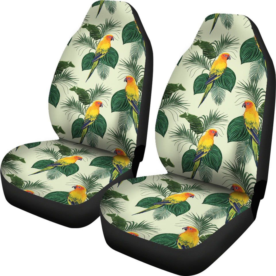 Beautiful Parrot Palm Leaves Pattern  Universal Fit Car Seat Covers