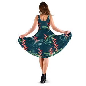 Heliconia Flowers, Palm And Monstera Leaves On Black Background Pattern Sleeveless Midi Dress