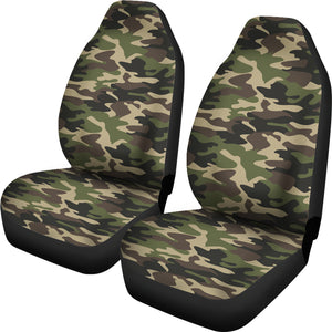 Dark Green Camo Camouflage Pattern  Universal Fit Car Seat Covers